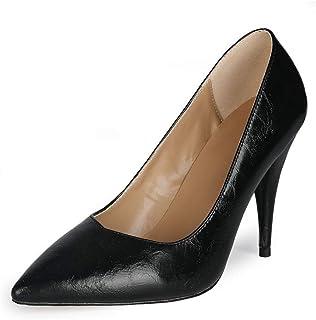 Dames Fahion Punted Toe Stiletto Slip-on hoge hak met 10,5 cm grote maat comfortabel gemakkelijk wandelen evenign Party Pu...