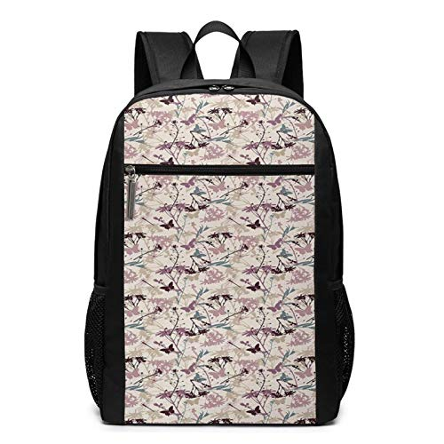 School Backpack Dragonfly Flower Flora Fauna, College Book Bag Business Travel Daypack Casual Rucksack for Men Women Teenagers Girl Boy