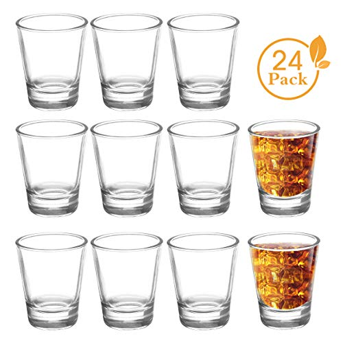 JOLLY CHEF Shot Glass Set with Heavy Base, 1.5 Ounce Tequila Shot Glasses, Clear Shot Glass for Whiskey and Liqueurs (24 Pack, Round)