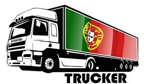 groß International LKW Fahrer Trucker Motiv mit Portugal Portugiesisch Flagge Vinyl Auto Aufkleber 300x180mm