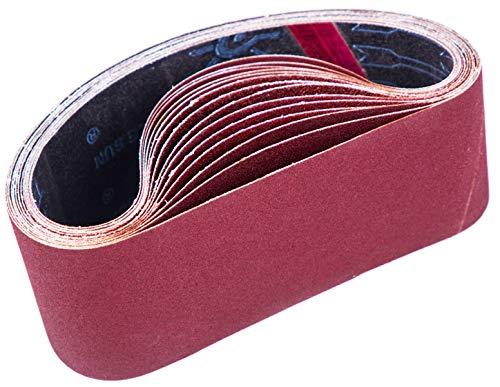 STEBRUAM Bandas de Lija 75 x 533 mm,Banda Abrasiva 3 x grano 80/120/150/240/400 para Lijadora de Banda,para Quitar el Polvo, Quitar la Pintura y Pulir(15 piezas)