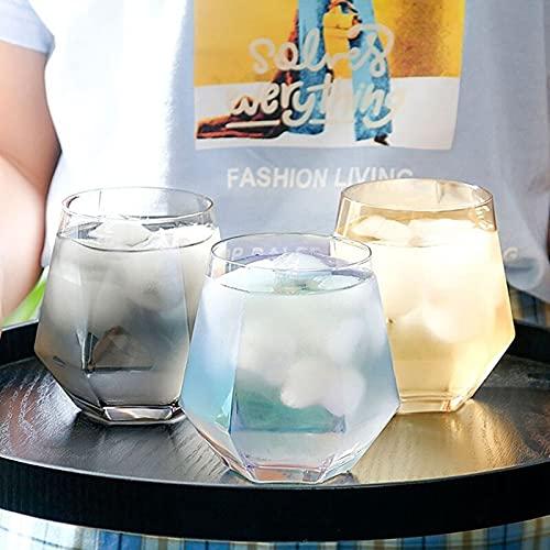 Vaso de cristal para el hogar, antideslizante, para café, leche, diamante, hexagonal, whisky, cóctel, cerveza, vidrio transparente (capacidad: 301 400 ml, color: 01)