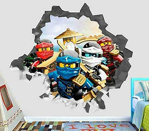 Wall Stickers 40x60 cm/15.7x23.6 in,Ninjago Movie, 3D Removable Vinyl Wall Sticker Mural Decal Art.