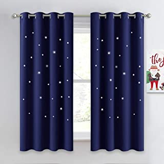 NICETOWN Children Blue Blackout Curtain - Hollow Star...