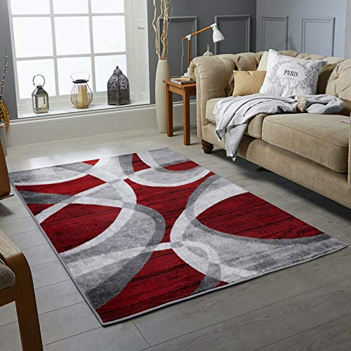 New Modern Rugs Wind Pattern Small Extra Large Bedroom Living Room Floor Rugs 160cm x 230cm (200 x 290 cm (6 ft 7 in x 9 ft 6 in), Red)