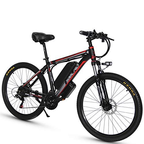 Bicicleta eléctrica de montaña, 1000 W, 26 pulgadas, con batería de litio extraíble de 48 V, 18 Ah, tres modos de trabajo, con asiento trasero (negro rojo)