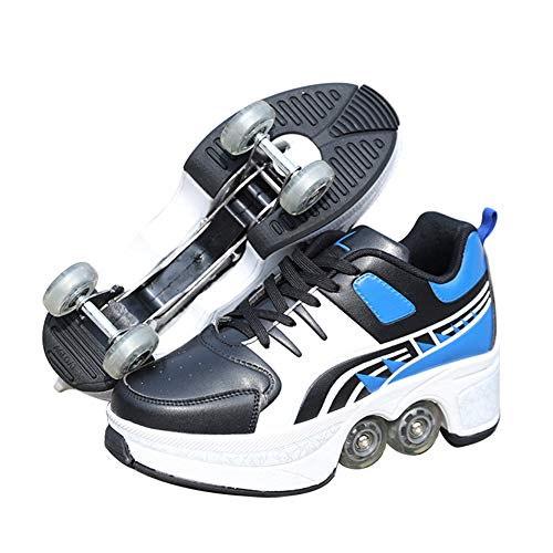 YZJYB Unisex Roller Skates Verstellbar Verformung Rollschuhe Freizeitschuhe Skaten Mehrzweckschuhe Für Erwachsene/Kind Quad Rollschuhe AnfäNger Doppelreihe Unsichtbare Räder Turnschuhe,34