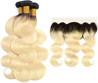 Grace Plus Hair Brazilian Body Wave Ombre Hair Blonde 3 Bundles With Frontal 1B/613 Dark Roots Blonde Bundles with Lace Frontal 13×4 Pre Plucked with Baby Hair (10 10 10+10)