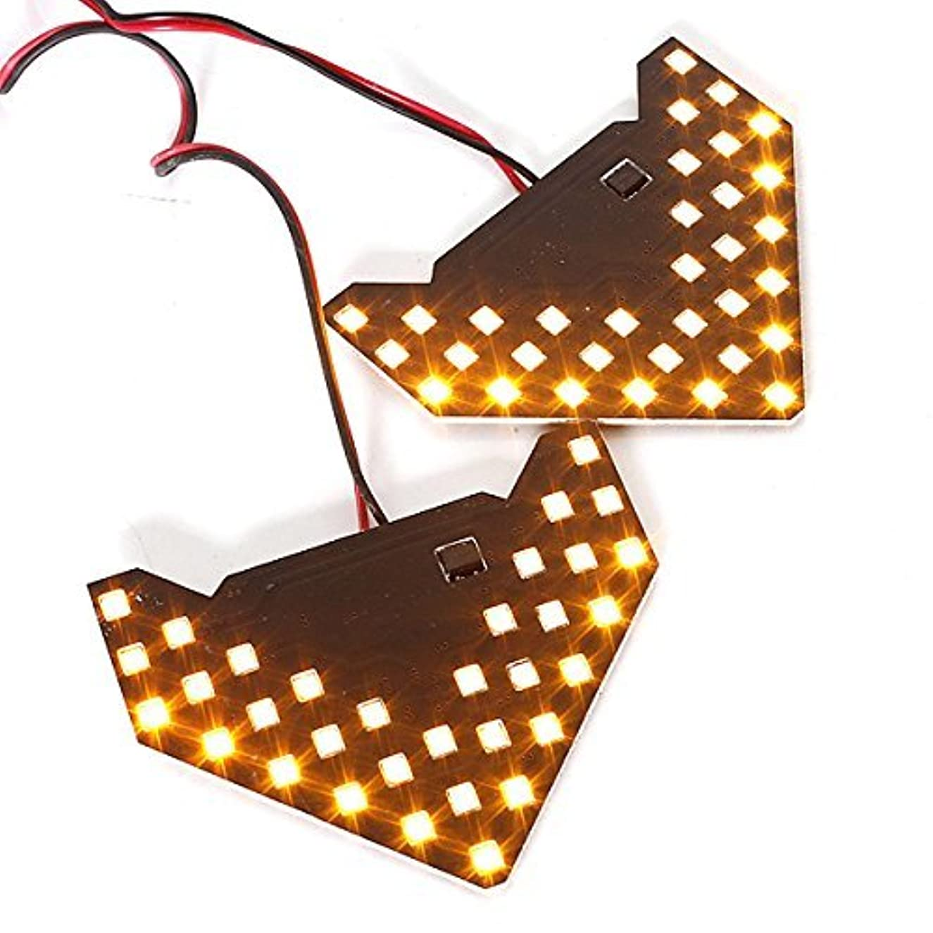 どこか息子急ぐ2PCS /ロット!! 33 SMDシーケンシャルLedライト矢印ランプインジケータSafe ledパネルカーサイドミラーTurn信号33 LED (黄)