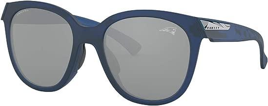 Oakley NFL New England Patriots Women's Low Key Round Sunglasses, Matte Translucent Blue/Prizm Black, 54mm