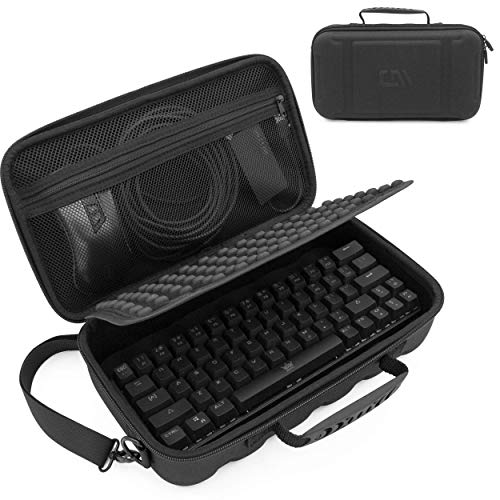"""CASEMATIX 60% Keyboard Case Compatible with Razer Huntsman Mini, HK Gaming GK61, KEMOVE Snowfox, DIERYA DK61E & More 61 Keys up to 11.5"""" - Travel Case with Shoulder Strap and Netted Accessory Storage"""