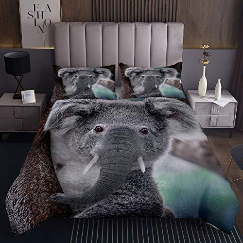Kinder Koala Bettüberwurf Karikatur Koala Steppdecke für Jugendliche Niedliches Tiermuster Tagesdecke 170x210cm Baum Botanische Zweige Raumdekoration 2St