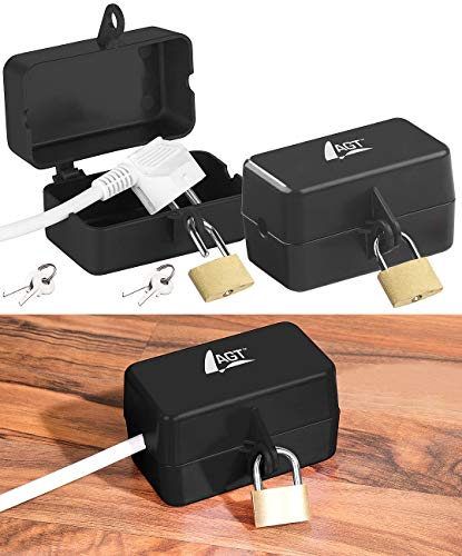 AGT Kabelbox abschließbar: 2er-Set Abschließbare Stromstecker-Schutzbox mit Vorhängeschloss (Steckerschloss Waschmaschine)
