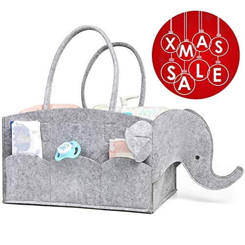 AMOVEE Baby Diaper Caddy   Baby Shower Gift   Nursery Organizer Basket   Car Travel Storage Tote Bag for Essentials   Extra Large   Sturdy Felt   Elephant