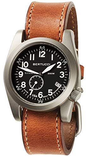 Bertucci A-11T Americana 13335 Mens Tan Horween Leather Band Black Quartz with Dial Watch