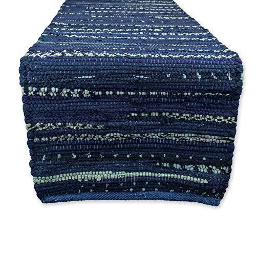 DII CAMZ36012 Handmade Chindi Tabletop Reversable & Machine Washable, Table Runner 14'x72', Blue