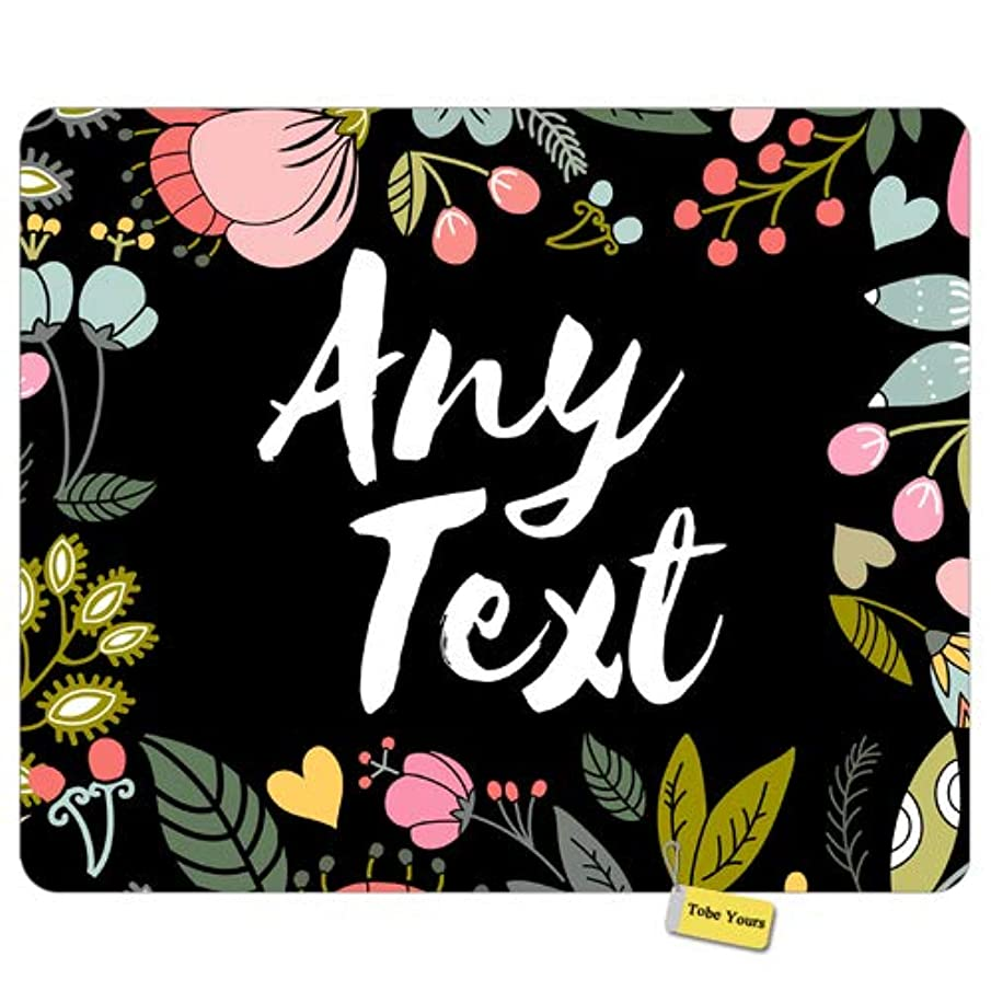 Personalized Name Custom Any Text - Floral Flowers Round Rectangle Non-Slip Rubber Comfortable Desk Mousepad Standard Mouse Pad Gift 9.5