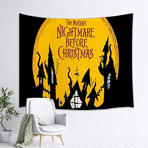 AdoDecor Tapiz de la Pesadilla Antes de Navidad Tapiz Feliz Halloween Colgante de Pared decoración del hogar 150x100cm/59 * 39 Pulgadas