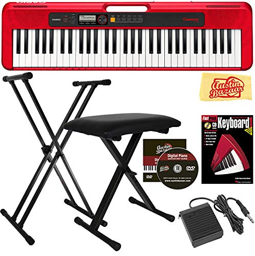 Casio Casiotone CT-S200 61-Key Portable Digital Keyboard Bundle with Adjustable Stand, Bench, Sustain Pedal, Instructional Book, Austin Bazaar Instructional DVD, and Polishing Cloth - Red