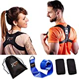 Posture Corrector Set for Women and Men | Upper Back Shoulder Clavicle Support Brace Under Clothes for Thoracic Kyphosis Slouching and Neck Pain Relief + Underarm Pads & Yoga Strap (2 Pack) by K'Smart