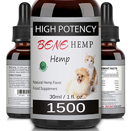 Hemp Natural Oil for Dogs & Cats, High Potency, Rich in Vitamins, Minerals & Omega 3, 6, 9 (1500mg/30ml)