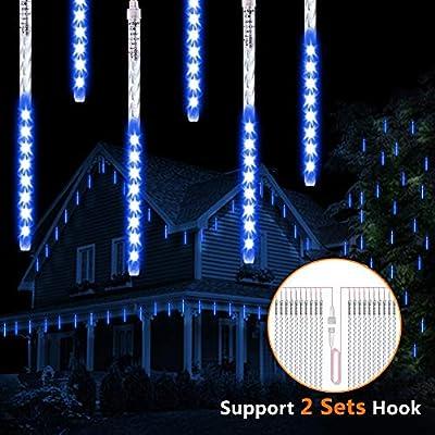 ohCome [New Version] Meteor Shower Rain Drop Lights 50cm 10 Spiral Tubes 540 LEDs Waterproof Icicle Snowfall String Lights