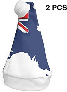 Christmas Caps Australia Flag Map Xmas Christmas Santa Hat Cap Party Cap for Holiday Party (2 Pack)
