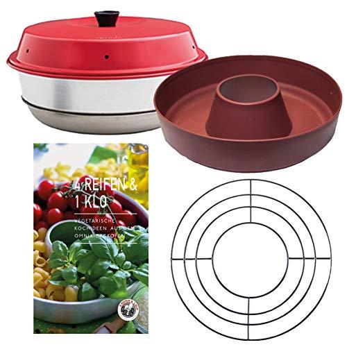 Omnia Backofen 4-teiliges Spar-Set | Backofen + Silikon-Backform Rostbraun + Vegetarische Kochideen Kochbuch + Aufbackgitter