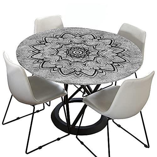 Morbuy Tischdecke Elastisch, Mandala Drucken Rund Tischdecken Wasserdicht Lotuseffekt Abwaschbar Abwischbar Tischtuch für Dekoration Küchentisch Garten Outdoor (Anthrazit,120cm)