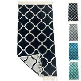 SOLTAKO Kleiner Kelim Teppich Läufer mit Fransen und Muster Retro Boho Ethno marokkanisch Berber waschbar Vintage Modell Casablanca (Schwarz/Ecru), 135 x 65 cm