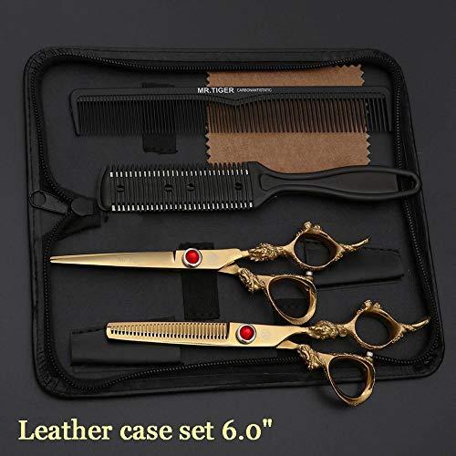 NoraHarry Lame tranchante 5,5 6,0 Pouces Ciseaux de Coiffure Ciseaux Professionnel Cheveux Set de Coupe de Cheveux Ciseaux Barber Scissor Cut Razor ( Color : Leather Case Set )