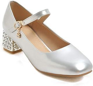 BalaMasa Womens APL11809 Pu Mary Jane Heels