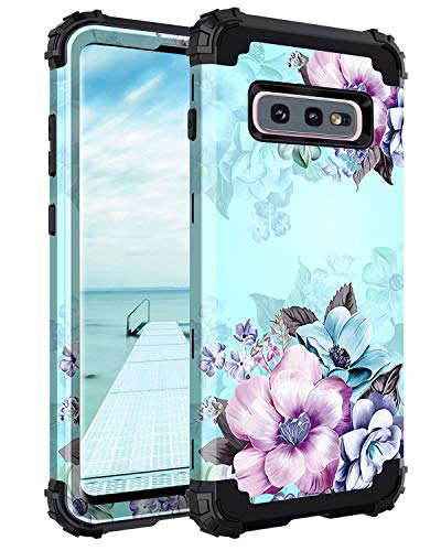 Casetego Compatible Galaxy S10 E Case,Floral Three Layer Heavy Duty Hybrid Sturdy Shockproof Full Body Protective Cover Case for Samsung Galaxy S10 E,Blue Flower
