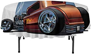 Cars Leakproof Polyester Round Tablecloth Cartoon Hot Rod Antique Customized Classical American Engine Nostalgia Revival Outdoor and Indoor use D51 Inch Orange Blue Black