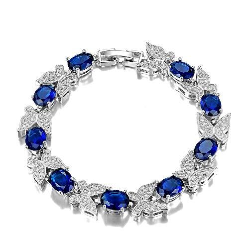 CHIY-GBC Pulsera de eslabones de Cadena de Aguamarina de 7x9 MM, Pulseras de joyería con Piedras Preciosas Brillantes para Mujer, Regalos de Compromiso de Boda