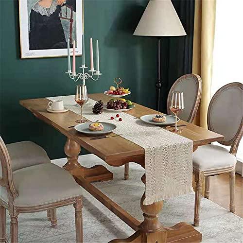 JDHANNE Camino de mesa tejido de algodón, lavable a mano, decoración de mesa con borlas para comedor, boda, banquete, vacaciones, fiestas al aire libre