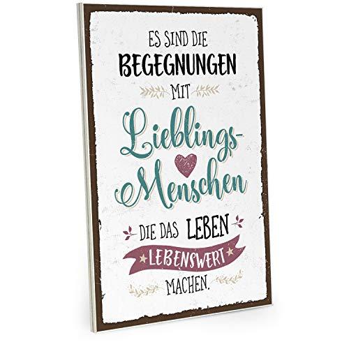 ARTFAVES Holzschild mit Spruch - Begegnungen mit Lieblingsmenschen - Vintage Shabby Deko-Wandbild/Türschild