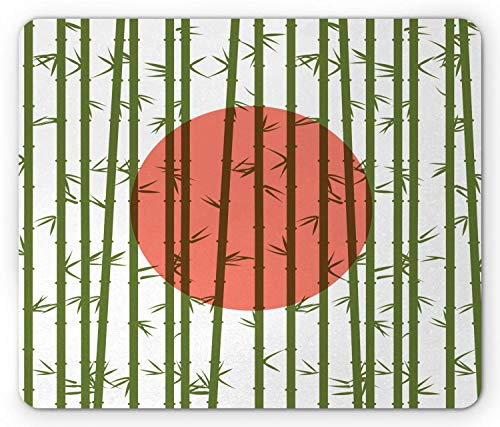 HJJL Japanese Mouse Pad, Tropic Glass Numerous Bamboo Plants on Orangish Sun Motif Backdrop, Rectangle Non-Slip Rubber Mousepad, Standard Size, Salmon Olive Green White