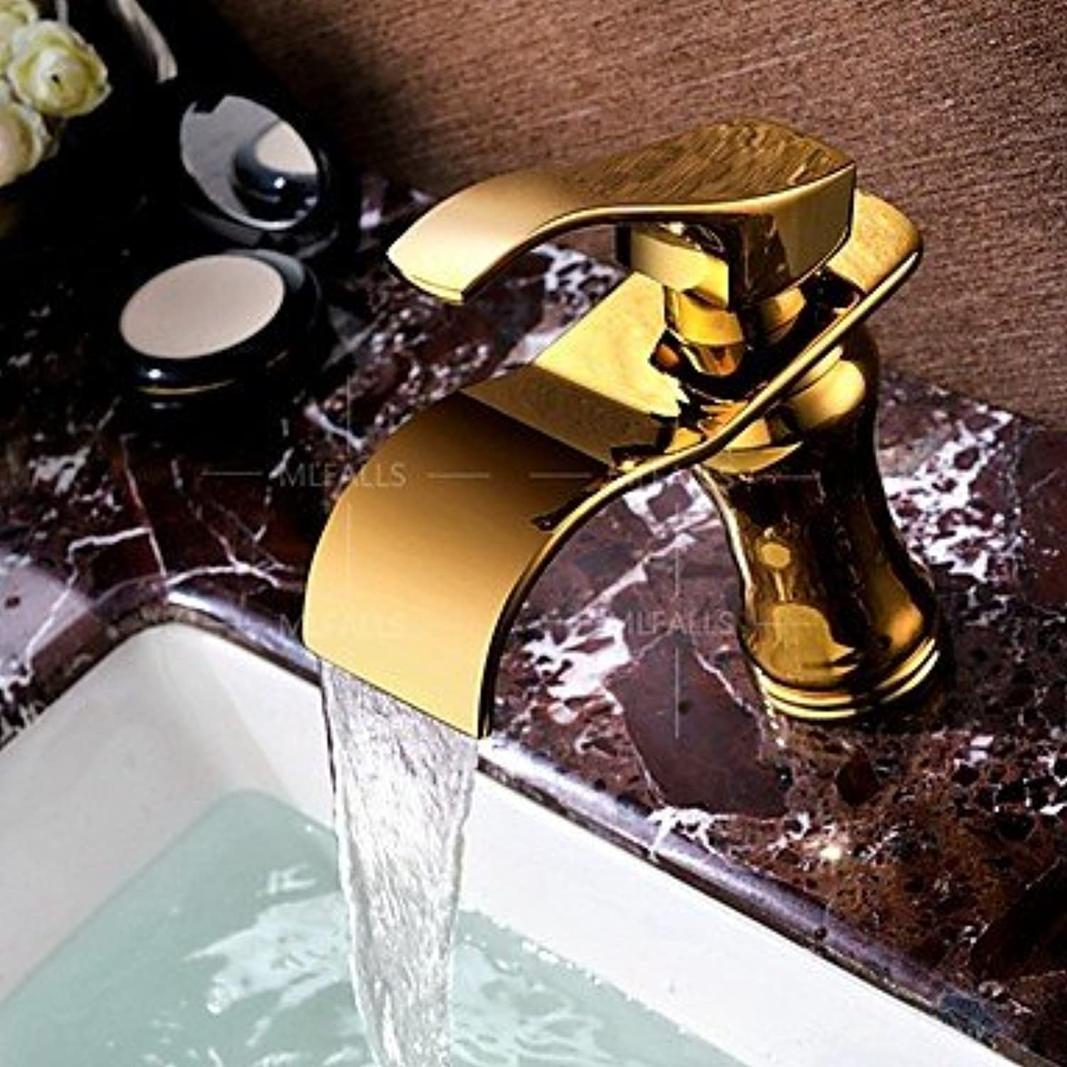 Bathroom Sink Faucet - Waterfall Widespread Ti-PVD Centerset Single Handle One Hole