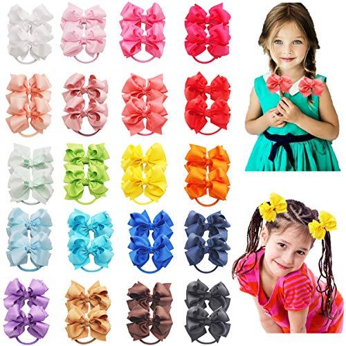 40PCS Baby Girls Hair Bows Ties 3inch Grosgrain Ribbon Bows Elastic Hair Ties Ponytail Holders for Toddlers Kids Children Teens