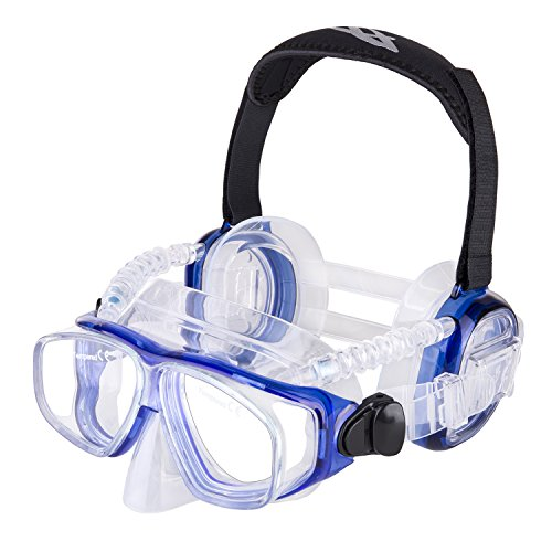 IST ProEar Dive Mask with Ear Covers, Scuba Diving Pressure Equalization Gear, Tempered Glass Twin Lens (Blue)