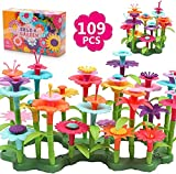 DigHealth Fleur Jouet pour Filles, 109 PCS DIY Ensembles de Bouquets Jardin, Jeu de Construction Créatifs Éducatif Artistiques pour Enfants de 3 4 5 6 Ans