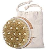 Dry brush natural bristles,cellulite massager for Cellulite and Lymphatic Body Scrubber dry brush