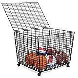 BIRDROCK HOME Sports Ball Basket Organizer with Wheels - Heavy Duty Casters - Lid - Sports Lockable Ball Storage Locker - Ball Cage for Garage Storage Garage Organizer