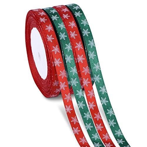 100m 4 Rollo Cintas de Satén de Copo de Nieve Cinta de Tela de Navidad para Decoraciones de Navidad, Envoltura de Regalos, Cinta Arbol de Navidad (Rojo, Verde)