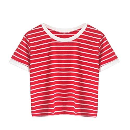 TUDUZ Damen Gestreift Crop Top Kurzarm Streifen Shirt Oberteile (Rot, S)