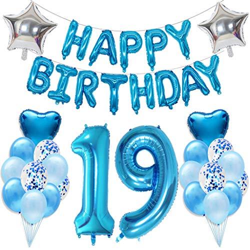 Ouceanwin 19 Cumpleaños Decoraciones Azul, Gigante Helio Globos Número 19, Bandera de Globos Happy Birthday, Globos de Confeti de Latex, 19 años Fiesta de Cumpleaños Kit para Niño Niños