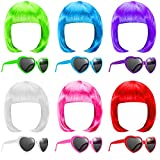 6 Pieces Party Wigs and Sunglasses Set Include Neon Short Bob Wig Colorful Sunglasses Cosplay Wig Daily Party Hairpieces for Halloween Party Supplies