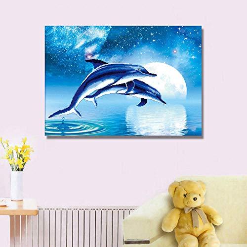 5D-diamant-schilderij, complete diamant, vierkant, blauwe dolfijn, 40 x 54 cm, borduurwerk, strass, kruissteek, wanddecoratie