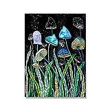 Arte abstracto de la pared Acuarela Planta Pinturas en lienzo Ilustración de setas Póster Impresión de imagen Sala de estar Decoración del hogar (30x50cm) Sin marco